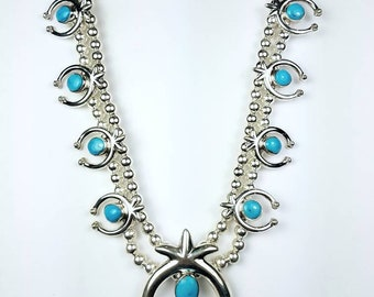 Native American Navajo handmade Sterling Silver and genuine Turquoise Squash Blossom necklace set