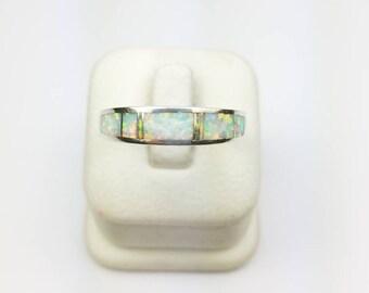Native American Navajo handmade Sterling Silver Opal inlay ring