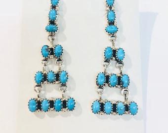 Native American Zuni handmade sterling silver turquoise chandelier dangle earrings
