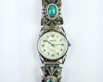 Native American Navajo handmade Sterling Silver Turquoise stone watch