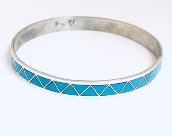 Native American Zuni Inlay Sterling Silver and Turquoise Bangle Bracelet