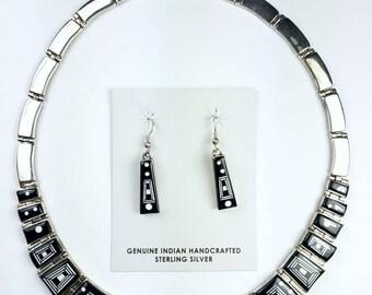 Native American Navajo handmade Sterling Silver Black Onyx Howlite Inlay Choker Necklace Set by Calvin Begay