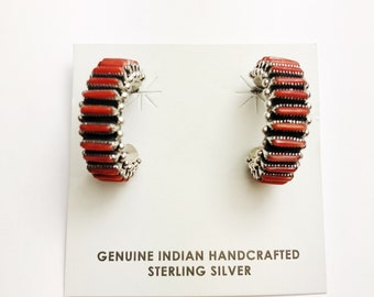 Native American Zuni handmade Sterling Silver Coral Earrings