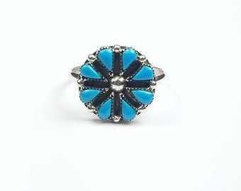Native American Zuni handmade Sterling Silver needle point Turquoise ring