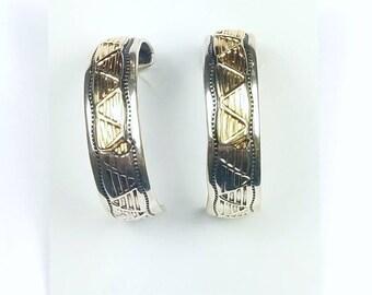 Native American Navajo handmade Sterling Silver 14k Gold overlay half hoop earrings
