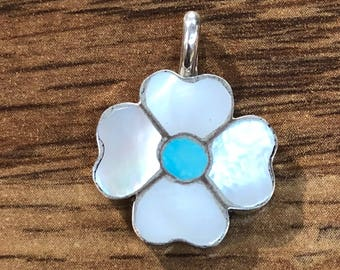 Native American Zuni handmade sterling silver mother of pearl and turquoise flower pendant