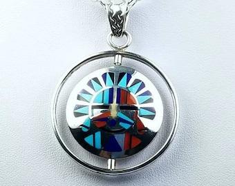 Native American Zuni handmade Sterling Silver multi-stone inlay spinner reversible pendant
