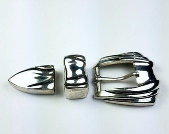 Native American Navajo handmade Sterling Silver ranger set belt buckle