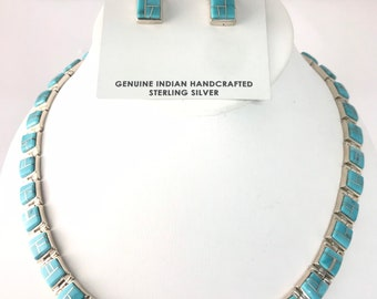 Stunning Native American Navajo Inlay handmade Turquoise and Sterling silver necklace and earring set