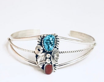 Native American Navajo Handmade Sterling Silver Turquoise and Coral Cuff Bracelet