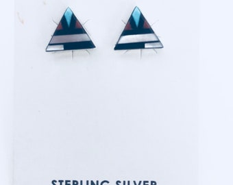 Native American Zuni handmade Multi colored triangle earrings