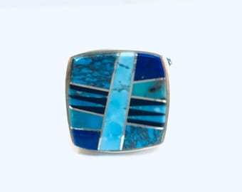 Native American Navajo handmade sterling silver multi colored mens ring