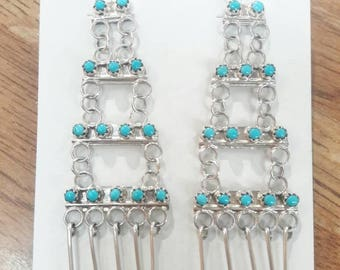 Native American Zuni handmade turquoise and sterling silver chandelier earrings.
