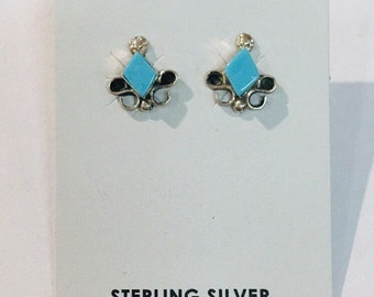 Native American handmade Zuni inlay Sterling silver and Sleeping Beauty Turquoise stud earrings