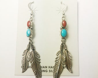 Native American Navajo Handmade Sterling Silver Multicolored Earrings