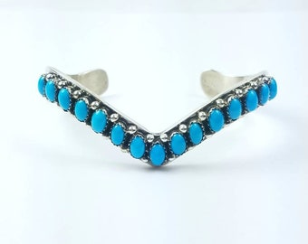 Native American Navajo handmade Sterling Silver Turquoise cuff bracelet by Paul Livingston