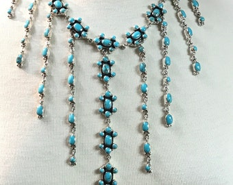 Stunning Sterling Silver Cast Turquoise Bib Necklace