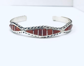 Native American Zuni handmade sterling silver And Mediterranean coral inlay cuff bracelet