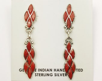 Native American Zuni  Handmade Sterling Silver Coral Earrings