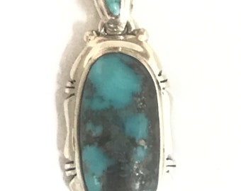 Native American Style Handmade Sterling Silver Turquoise Pendant