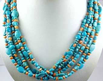 Native American Navajo handmade genuine Turquoise and Spiny Oyster shell bead necklace