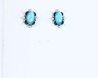 Native American Navajo handmade sterling silver stud earrings set with Sleeping Beauty turquoise stones
