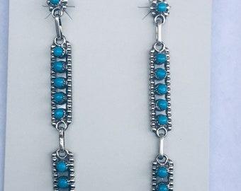 Native American handmade sterling silver Zuni peti point sleepung beauty turquoise earrings