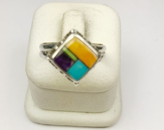 Native American Navajo Handmade Sterling Silver Turquoise, Spiny Oyster, Gaspite Ring