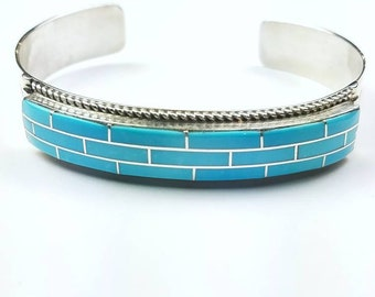 Native American Zuni handmade Sterling Silver inlay Turquoise cuff bracelet