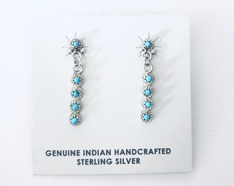 Native American Zuni petit point handmade sterling silver and sleeping beauty turquoise dangle earrings