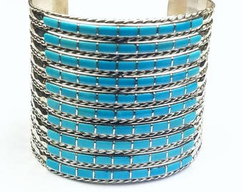 Native American Zuni handmade Sterling Silver channel inlay Sleeping Beauty Turquoise cuff bracelet