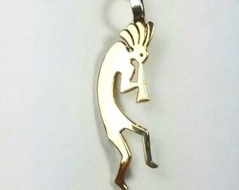 Native American Navajo handmade Sterling Silver 14k Gold overlay Kokopelli pendant