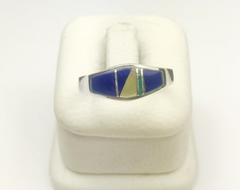 Native American Navajo Handmade Sterling Silver Multicolor Ring