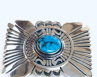 Native American Navajo handmade heavy sterling Silver Morenci Turquoise belt buckle