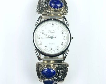 Native American Navajo handmade Sterling Silver Lapis stone watch