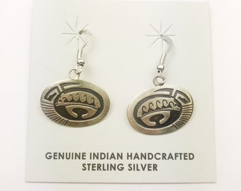 Native American Navajo Handmade Sterling Silver Bear Design Earrings