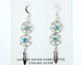 Native American Navajo handmade Sterling Silver Turquoise stone dangle drop dream catcher earrings