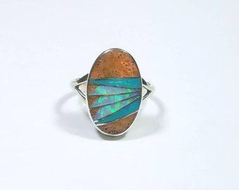 Native American Navajo handmade Sterling Silver inlay Jasper Turquoise Opal ring