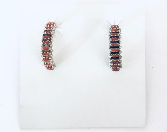 Native American Zuni Needlepoint handmade sterling silver and coral half hoop earrings