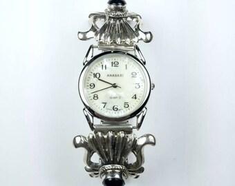 Native American Navajo handmade Sterling Silver Black Onyx stone watch