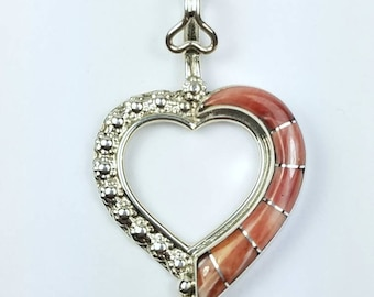 Native American Zuni handmade Sterling Silver Spiny Oyster Shell inlay heart pendant