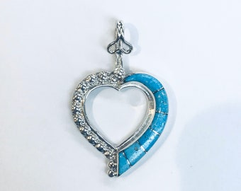 Native American Zuni handmade sterling silver turquoise heart pendant