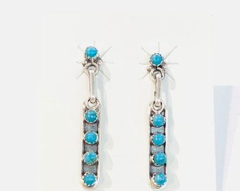 Native American Zuni handmade sterling silver turquoise dangle drop earring