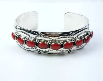 Native American Navajo handmade Sterling Silver Coral cuff bracelet