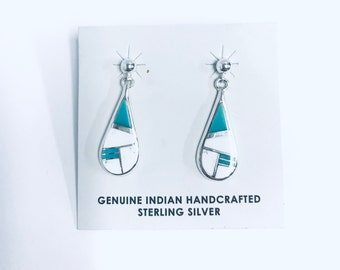 Native American Navajo handmade sterling silver dangle earrings inlaid with Turquoise and White Buffalo stone