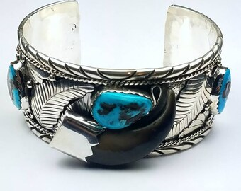 Native American Navajo handmade Sterling Silver Kingman Turquoise faux bear claw cuff bracelet