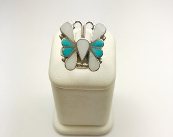 Native American Navajo Handmade Sterling Silver Multicolor Butterfly Ring