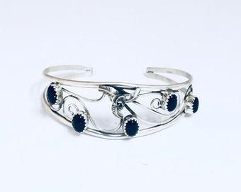 Native American Navajo Handmade Sterling Silver and Onyx Cuff Bracelet