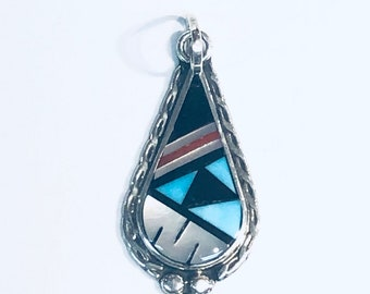 Native American Zuni handmade sterling silver multicolored pendant