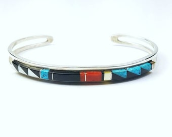 Native American Zuni handmade Sterling Silver inlay multi-stone bracelet